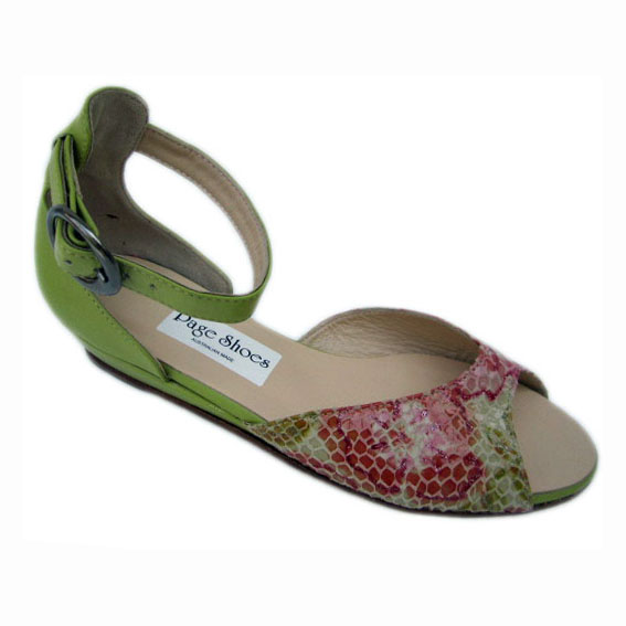 03 Johnny Trixie + Low wedge Metallic Floral Dirty Lime Suede Gunmetal buckle