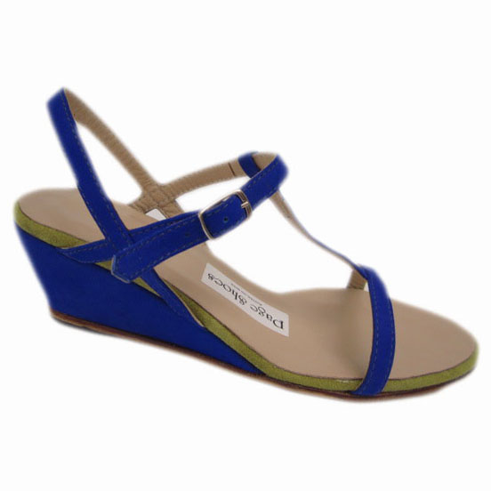 Blythe + High Wedge Cobalt Suede Dirty Lime Suede