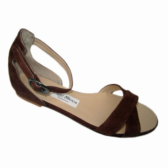 Cross Over + Trixie + Flat Heel Brown Suede + Silver Buckle