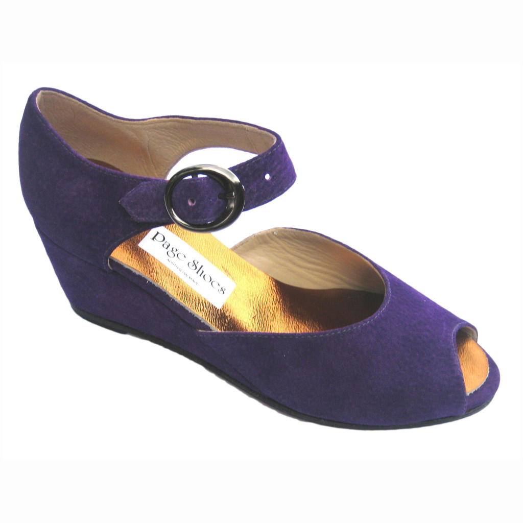 Gabby Dolce + High Wedge Purple Suede Gunmetal Buckle