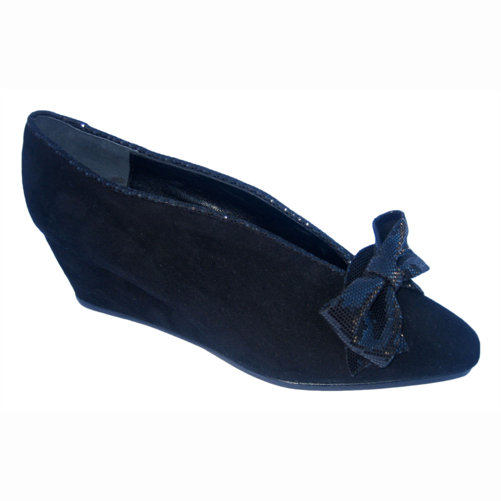 Gail + high wedge Blk Suede Shiny Blk Dot + Ginney Bow