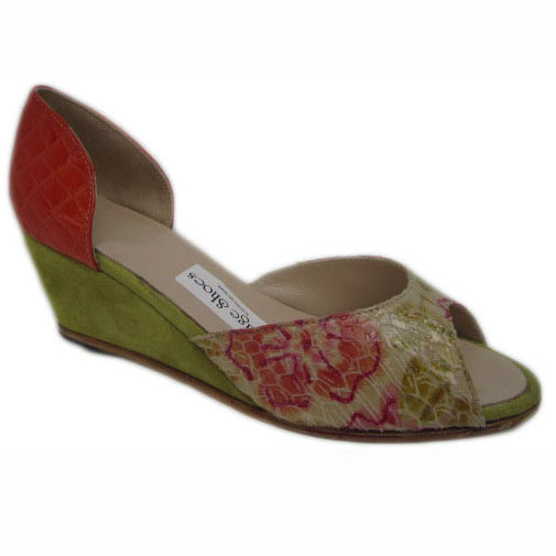 Johnny Hetty + High wedge Burnt Orange Glazed Croc Dirty Lime Suede Metallic Floral