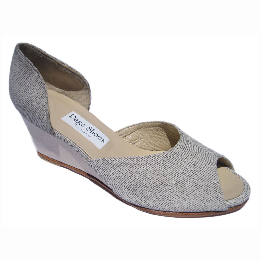 Johnny Hetty + Wedge Linen Look Taupe