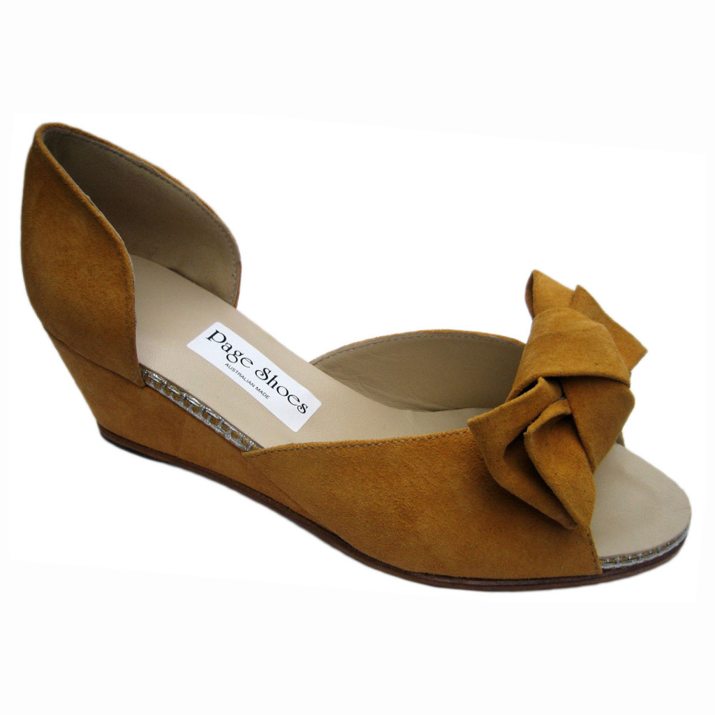 Johnny Hetty + Wedge Mustard Suede SIlver Mesh + Jill Bow