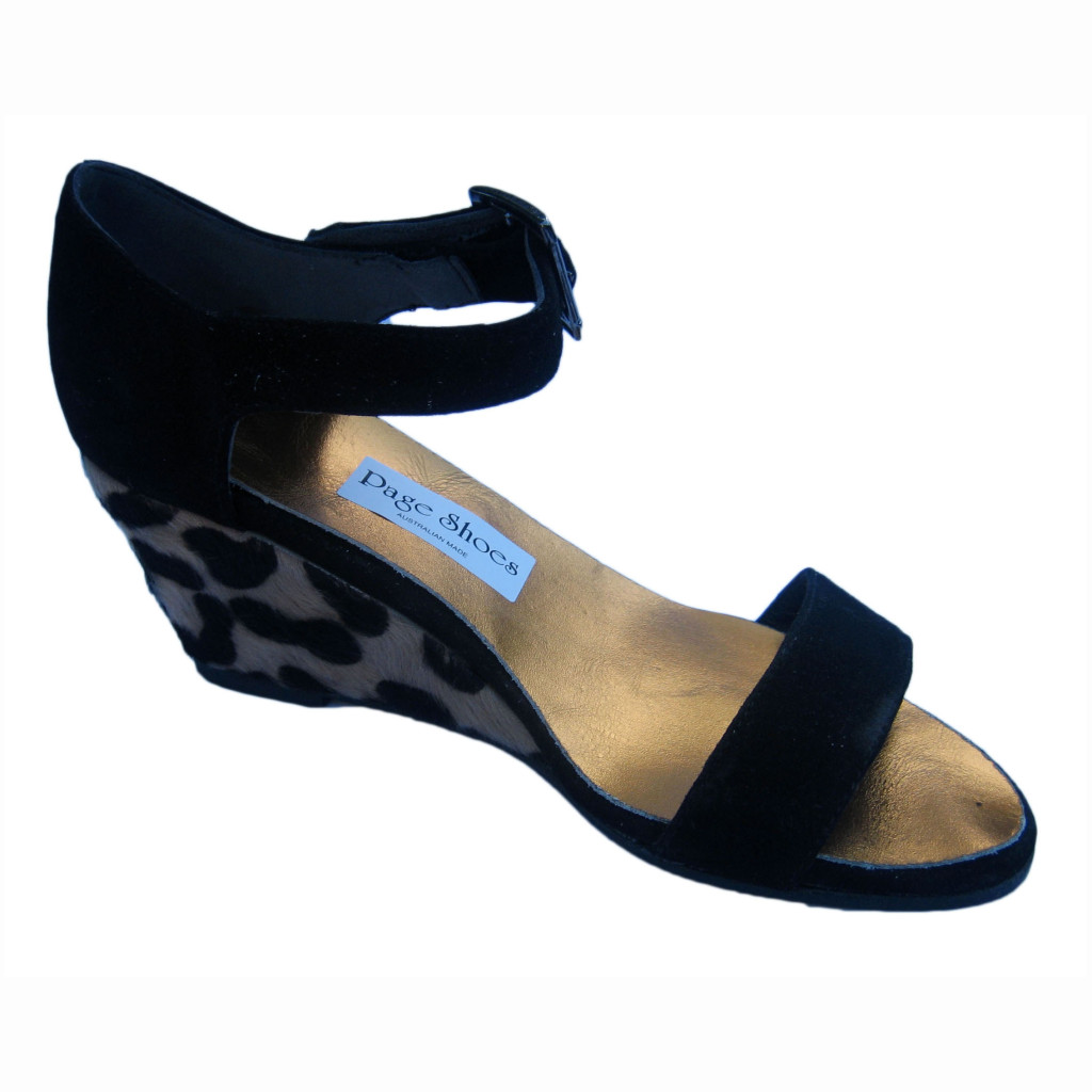 LIllette Dolce + High Wedge Black Suede Cheetah Gunmetal Buckle