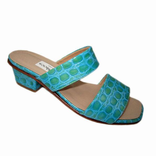 Lilly + Nibia Heel Aqua Glazed Croc