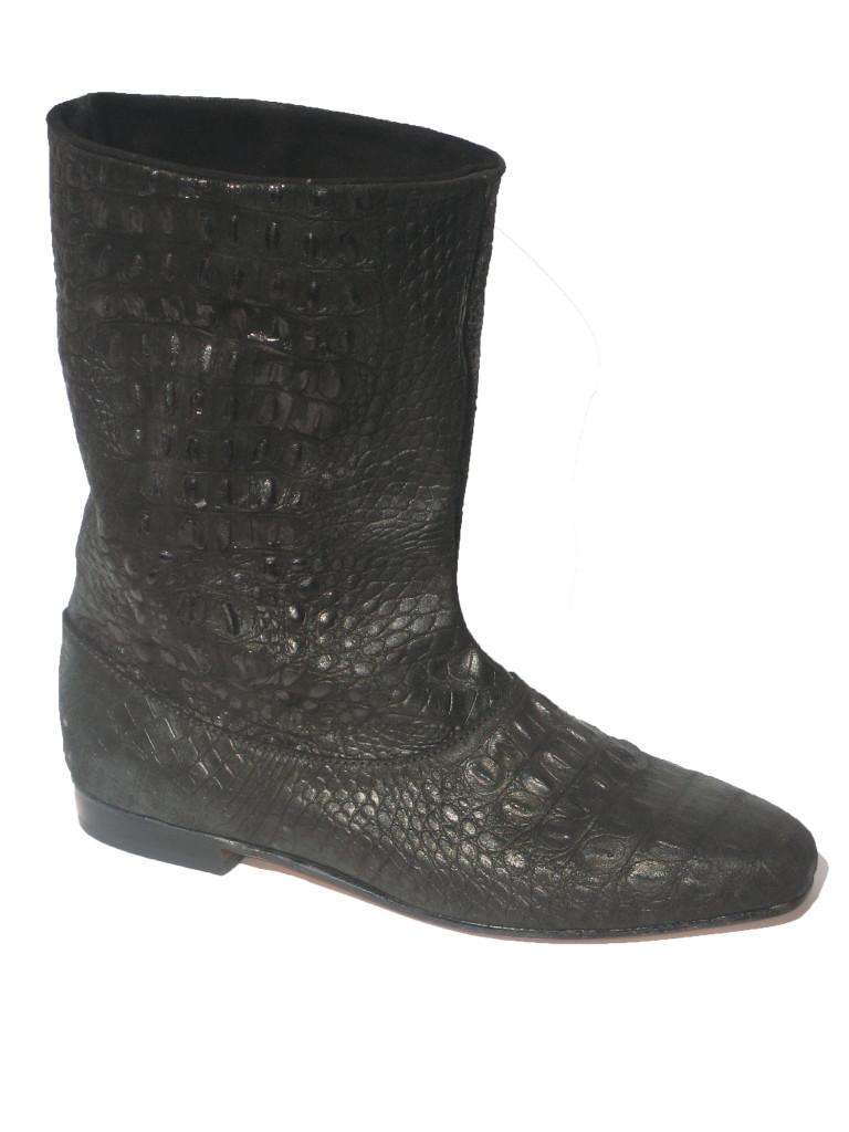 Marnie + Flat Blk Nubuck Croc Blk Suede