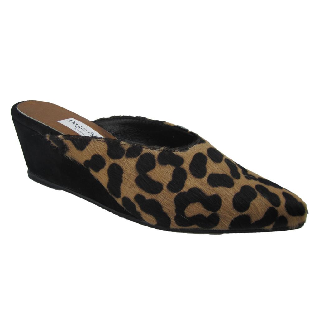 Mule + High Wedge Cheetah Blk Suede