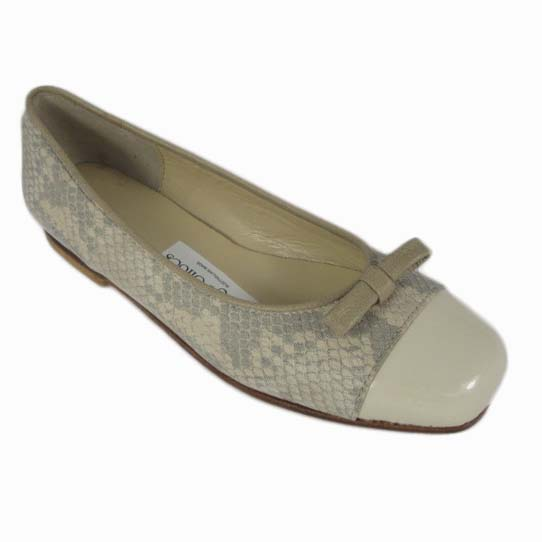Margot + Flat Silk Python Cream Patent Taupe Calf + Toe Cap + Piping + Finn Bow