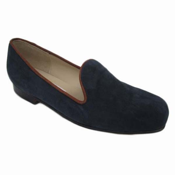 Sheila + Margot Last + Carla Navy Suede Tan Suede + Piping